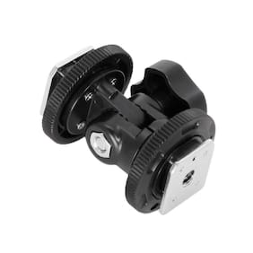 Digiom Rotatable Swivel Bracket with Dual Cold Shoe for LED Video Light DSLR Camera Hotshoe Mount Adapter Angle Adjustable