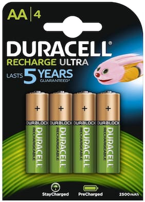 Duracell 2500mAh Pre Charged Rechargeable AA Batteries (Pack Of 4)