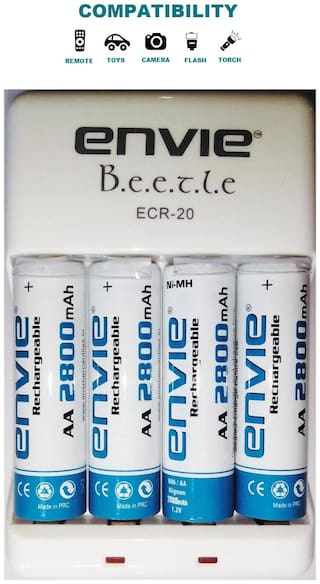 Envie 2800mah AA 4pcs Ni-MH Rechargeable Battery Charger