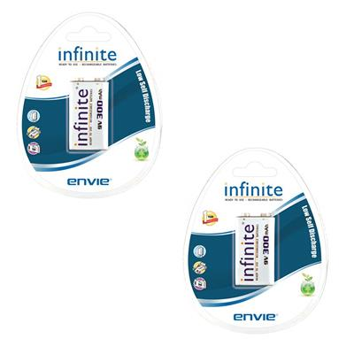Envie 9V-300mah|Pack of 2| Ni-MH Rechargable Battery