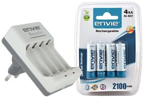 Envie Beetle ECR-20 Charger with Envie AA 2100 4PL Ni-Mh Rechargeable Batteries