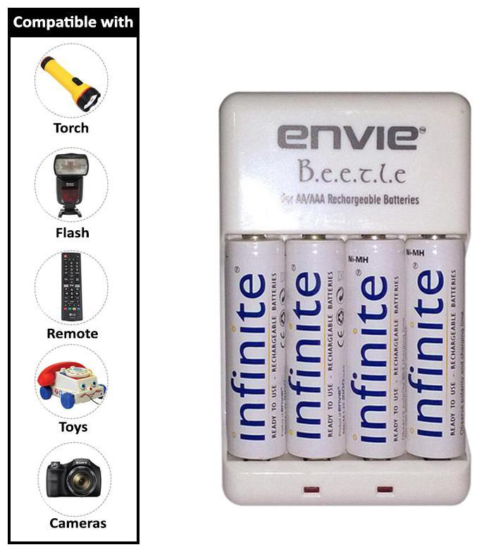 Envie Bettle ECR 20 |Combo With| 4xAA 2100mah rechargeable Battery Charger by E Stoke