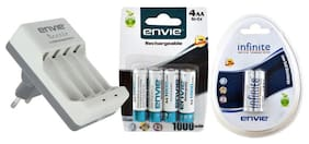 Envie Combo Of Beetle ECR-20 Charger With 6 Rechargeable Batteries
