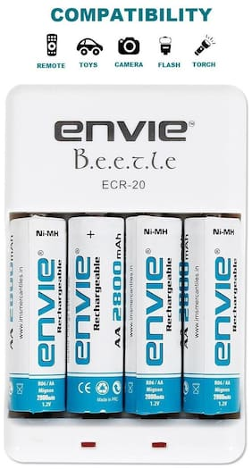 Envie ECR 20 + 4xAA 2800mAh Battery Charger with Rechargeable Battery Set (White)