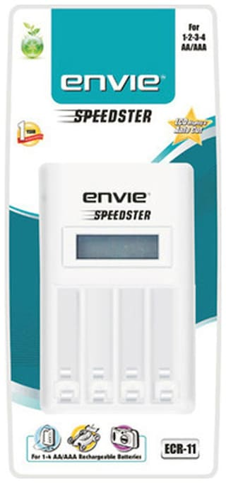 Envie ECR 11 Speedster LCD Charger for AA and AAA Ni-mh Rechargeable Batteries (White)