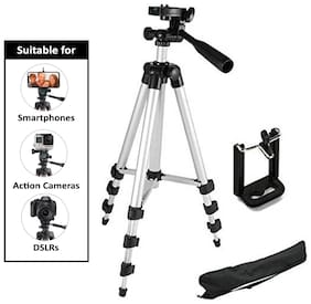 Fast Delight 3110 Portable and Foldable Tripod with Mobile Clip Holder Bracket, Fully Flexible Mount with 3 Dimensional Head for Phones and Camera ( Black )