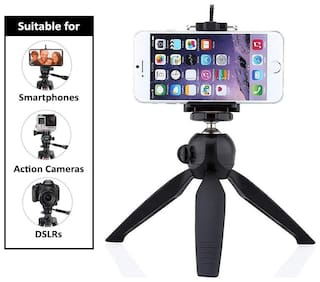 Fast Delight 360 deg Mini Tripod Universal Mount & Phone Holder Tripod Stand Compatible with All Mobile Phones and Digital Camera ( Black )