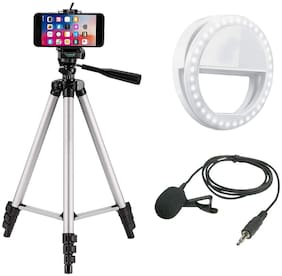 Fast Delight Combo 3 in 1 Tripod 330A Stand Tripod, Collar Mic with 3.5mm Clip Mic Microphone with Selfie Portable Flash Led Camera Phone Ring Light for Smartphone