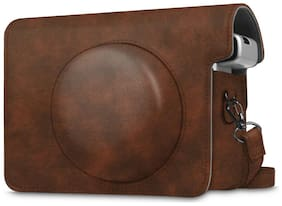 For Fujifilm Instax Wide 300 Instant Camera Case Bag Cover Removable Strap-Brown