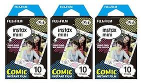 Fujifilm Instax Mini Instant Film 30 Count Value Kit For Fuji 7s, 8, 8+, 25, 50s, 90, 300, Instant Camera, Share SP-1 Printer (3 Pack, Comic)