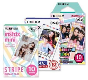 Fujifilm Instax Mini Film for Instant Film Camera - Stripe/Airmail/Stained Glass, 10 Sheets/Pack x 3(total 30 Sheets)