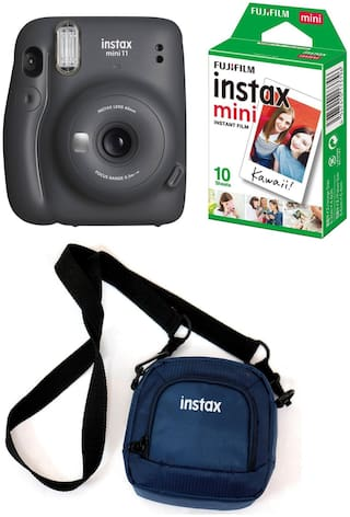 Fujifilm Instax Mini 11 Instant Camera with 10 Shots film and Pouch (Charcoal Grey)