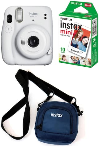 Fujifilm Instax Mini 11 Instant Camera with 10 Shots film and Pouch (Ice White)