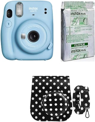 Fujifilm Instax Mini 11 Instant Camera with 10 Shots film and Dot Black Pouch (Sky Blue)