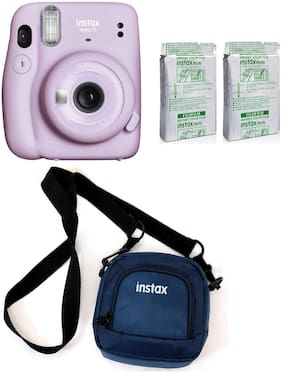 Fujifilm Mini 11 Lilac Purple with 20 Shots film and pouch 0.1 MP Instant Camera ( Purple )