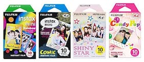 Fujifilm Instax Mini Film 4 Pack Bundle! Rainbow, Comic, Shiny Star, Candy Pop 10 X 4 = 40 Sheets Assort Set + withC Microfiber Cleaning Cloth + Photo Frame Stickers 20 pcs