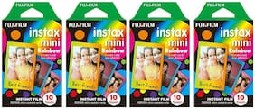 Fujifilm Instax Mini Instant Film 30 Count Value Kit For Fuji 7s, 8, 8+, 25, 50s, 90, 300, Instant Camera, Share SP-1 Printer (4 Pack, Rainbow)