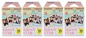 Fujifilm Instax Mini Instant Film 30 Count Value Kit For Fuji 7s, 8, 8+, 25, 50s, 90, 300, Instant Camera, Share SP-1 Printer (4 Pack, Shiny Star)