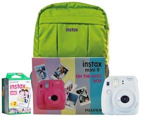 Fujifilm Instax Mini 9 Smoky White On The Go Box Combo (Camera + Films + Bag) (Smoky White)