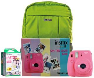 Fujifilm Instax Mini 9  Flamingo Pink On The Go Box Combo (Camera + Films + Bag) (Flamingo Pink)
