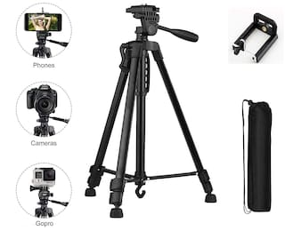 G GAPFILL 3366 Extentable 4.5 Feet Tripod Stand for Mobile, GoPro & DSLR Camera