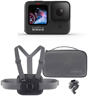 GoPro Hero9 Black 23.6 MP Action Camera with Sports kit Bundle Pack (Carrying Case, Chesty & Handlebar mount)