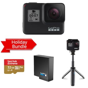 GoPro Hero7 Black 12 MP Sports & Action Camera with Holiday Bundle Pack (Rechargeable Battery, Shorty & SanDisk 32GB Extreme card)