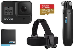GoPro Hero8 Black 12 MP Sports & Action Camera with Holiday Bundle Pack (Head Strap, Shorty, Rechargeable Battery & SanDisk 32GB Extreme card)