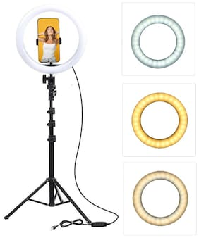HeekPro 10 Inch Portable LED Ring Light with 3 Color Modes Dimmable Lighting with 7 Feet Tripod Stand for Mobile Phones & Camera