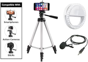 HeekPro Combo 3 in 1 Tripod 3110 Stand Tripod, Collar Mic with 3.5mm Clip Mic Microphone with Selfie Portable Flash Led Camera Phone Ring Light for Smartphone