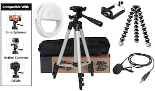 HeekPro Combo 4 in 1 Tripod Stand, 7Inch Gorilla Tripod, Collar Mic with 3.5mm Clip Mic Microphone with Selfie Portable Flash Led Camera Phone Ring Light for Smartphone