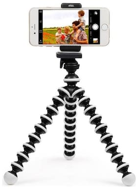 i-Birds Gorilla Fully Flexible Foldable Octopus Medium Size Tripod Stand for Mobile Smartphones, DSLR Cameras (White and Black, 10 inch)