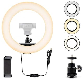 IMMUTABLE 10 inch LED Ring Light With Phone Holder and Ball head