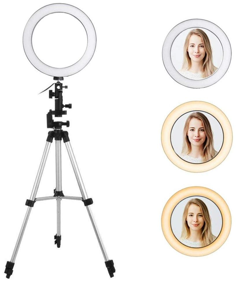 IMMUTABLE 10  inch Foldable Tripod , Dimmable 3 Modes LED Ring Light