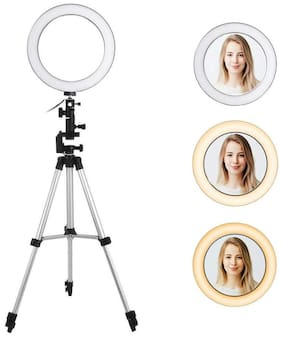 IMMUTABLE 10- inch Foldable Tripod , Dimmable 3-Modes LED Ring Light