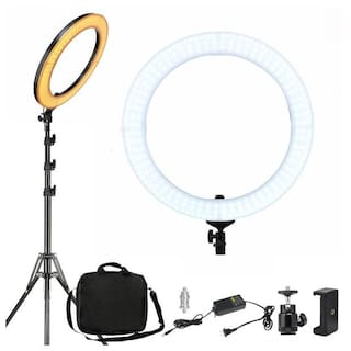 IMMUTABLE 18  inch Ring Light With Tripod Stand LED Camera Selfie Tripod