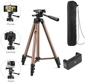 Immutable 3130 Aluminum Tripod (50-Inch), Universal Lightweight Tripod with Mobile Phone Holder Mount & Carry Bag for All Smart