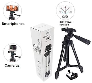 IMMUTABLE 3120 Portable and Foldable Camera Metal Body Mobile Tripod with Clip Holder Bracket, Stand with 3-Dimensional Head and Quick Release Plate Only