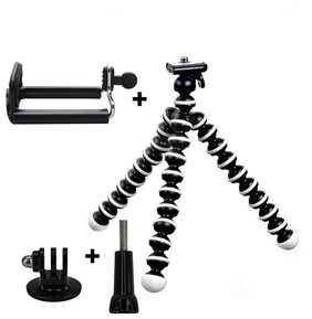 IMMUTABLE Flexible Octopus Foldable Mini Tripod For Mobile Phone With Universal Mobile Monopod Mount Adapter (White / Black)