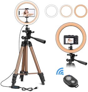 IMMUTABLE Tripod Stand for Mobile Phone and Camera with 10 inch LED Ring Light