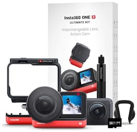 Insta360 ONE R Ultimate Kit   5.3K 1 Inch Sensor Action Camera & 5.7K 360 Camera with Interchangeable Lenses (Red & Black)