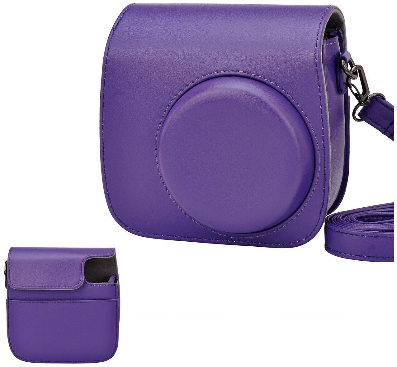 Instax Mini8 Camera Leather Case Shoulder Bag Cover For Fujifilm Polaroid Purple