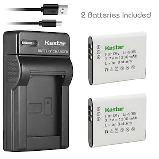 Kastar 2 LI-90B/92B Battery + Charger for Olympus SH-50 XZ-2 TG-Tracker SP-100EE