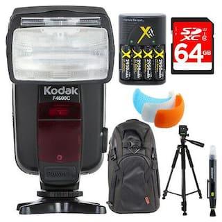 Kodak F4600C Flash E-TTL 18-180 Power Zoom for Canon E-TTL Camera +Deluxe Bundle