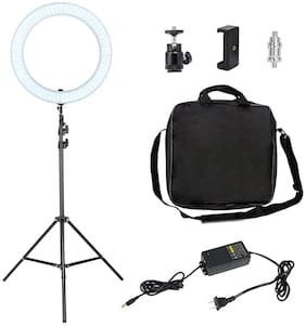 IMMUTABLE LED Ring Light with Stand for Camera Smartphone, Dimmable 2700-5500K Lighting with Phone Holder, Hot Shoe, Carrying bag (12 inch)