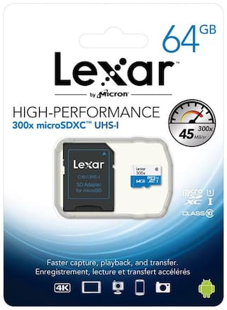 Lexar SDXC 64 Gb Class 10 Mobile Memory Card With Free Adapter