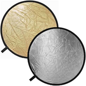 "Maxxlite 40cm/16"" 5 in 1 Translucent Silver Gold White and Black Collapsible Round Multi Disc Light Reflector for Studio or Any Photography Situation."