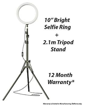 Mectronix  Hi-Brightness Ring Light with Phone Holder Dimmable Makeup Light with 3 Light Mode,10 Level Brightness for Make-up/Video Shooting/Vlogging (12 Month Warranty) (10 inch with Tripod)
