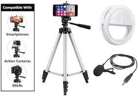 Mezing Combo 3 in 1 Tripod Stand, Collar Mic with 3.5mm Clip Mic Microphone with Selfie Portable Flash Led Camera Phone Ring Light for Smartphone