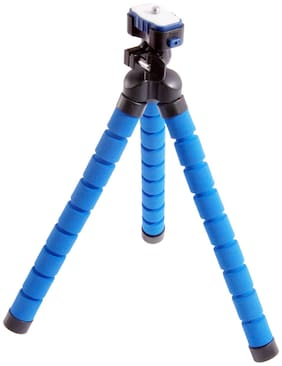 QUXXA Flexible Non Extentable Tripod Stand for Mobile  GoPro (Usage for vlogging) (Blue)